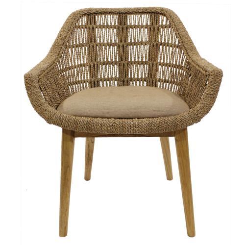 Leia KD Rattan Side Arm Chair, Natural