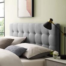 See Details - Emily Queen Upholstered Fabric Headboard in Gray