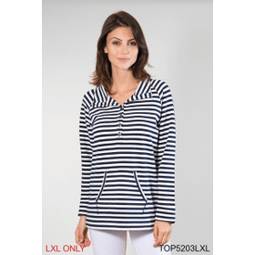 Nautical Button Up Pullover Top - L/XL (4 pc. ppk.)