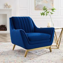 Winsome Channel Tufted Performance Velvet Armchair in Navy