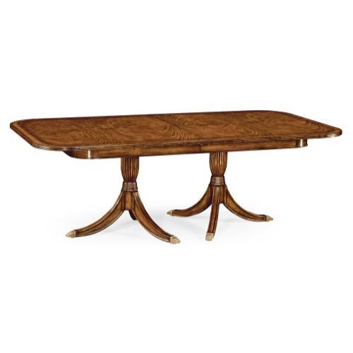 Regency two leaf walnut extending dining table