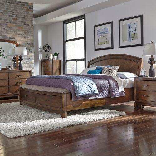 Gallery - King Panel Storage Bed, Dresser & Mirror, Chest, Night Stand