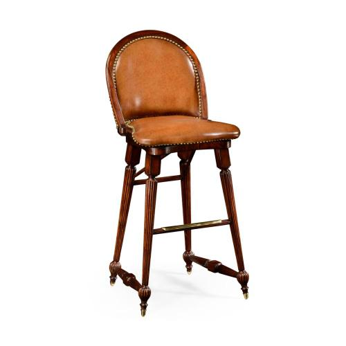 Walnut windsor barstool side chair with brown leather