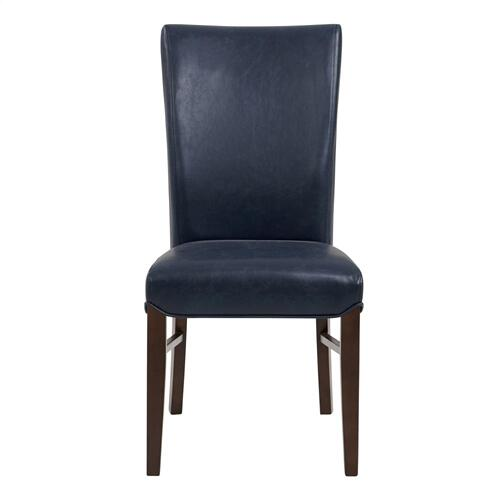 Product Image - Milton Bonded Leather Dining Side Chair Wenge Legs, Vintage Blue