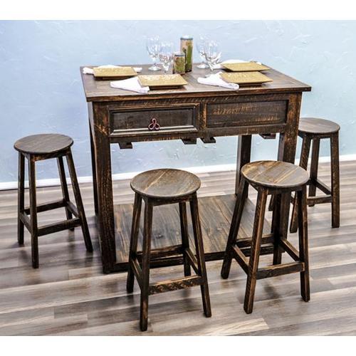 Medium Wax Island W/stools