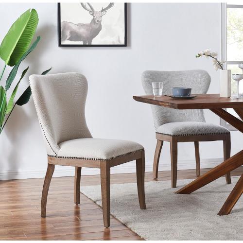 Dorsey Fabric Chair Drift Wood Legs, Cardiff Gray