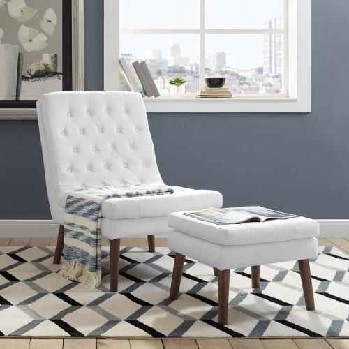 Modify Upholstered Lounge Chair and Ottoman in White
