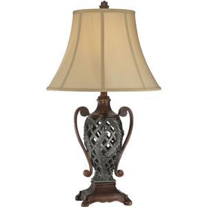 Table Lamp - Two Tone/tan Fabric Shade, E27 Cfl 25w/3-way