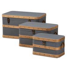 See Details - Baxton Studio Jonathon Modern and Contemporary Transitional Grey Fabric Upholstered and Oak Brown Finished 3-Piece Storage Trunk Set