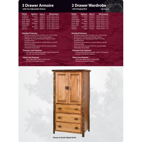 Hickory 3 Drawer Armoire w/Shelving (2)