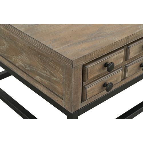 Wayne Coffee Table with Metal Base, Brown