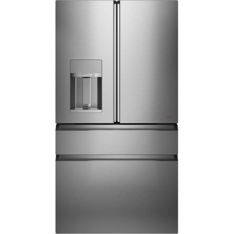 Caf(eback) ENERGY STAR(R) 27.8 Cu. Ft. Smart 4-Door French-Door Refrigerator in Platinum Glass