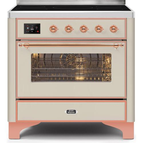 Majestic II 36 Inch Electric Freestanding Range in Antique White with Copper Trim