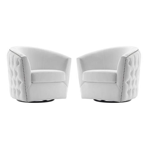 Rogue Armchair Performance Velvet Set of 2 in White