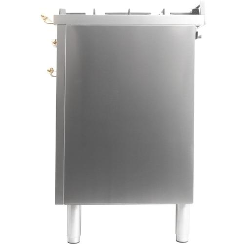 Nostalgie 30 Inch Dual Fuel Natural Gas Freestanding Range in Stainless Steel with Brass Trim