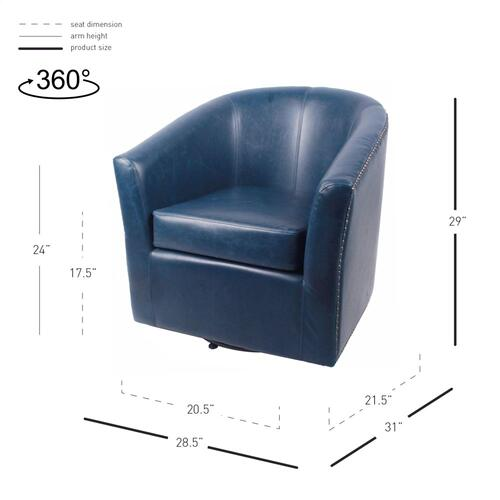 Ernest Bonded Leather Swivel Accent Arm Chair, Vintage Blue