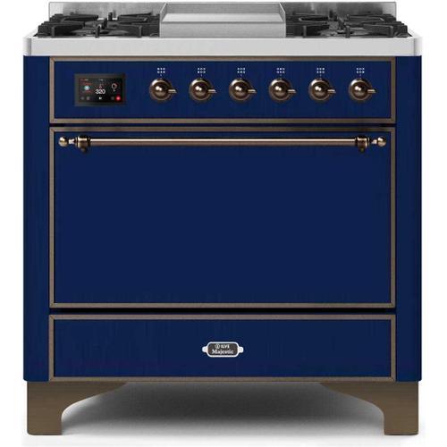 Gallery - Majestic II 36 Inch Dual Fuel Liquid Propane Freestanding Range in Blue with Bronze Trim