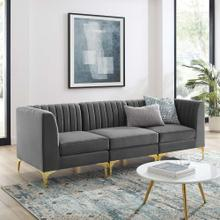 Triumph Channel Tufted Performance Velvet 3-Seater Sofa in Gray