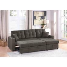 Lorene 2pc Sectional Sofa Set, Ash Black Cotton Blend