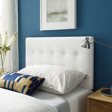 View Product - Emily Twin Biscuit Tufted Performance Velvet Headboard in White