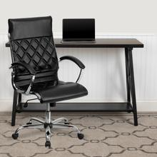 View Product - High Back Designer Quilted Black LeatherSoft Executive Swivel Office Chair with Chrome Base and Arms