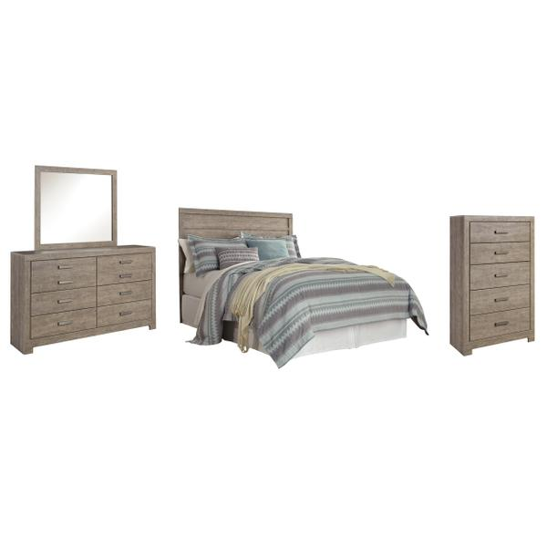 See Details - Queen/full Panel Headboard With Mirrored Dresser and Chest