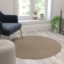 See Details - 4 Foot Round Braided Design Natural Jute and Polyester Blend Indoor Area Rug