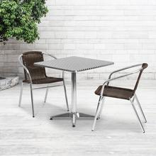See Details - 27.5'' Square Aluminum Indoor-Outdoor Table Set with 2 Dark Brown Rattan Chairs