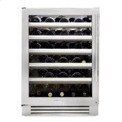 24 Inch Single Zone Stainless Glass Door Left Hinge Undercounter Wine Cabinet