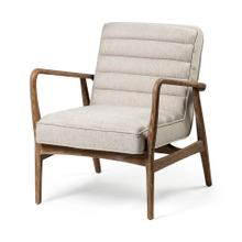 See Details - Ajax II Cream Fabric W/ Brown Wooden Frame Accent Chair