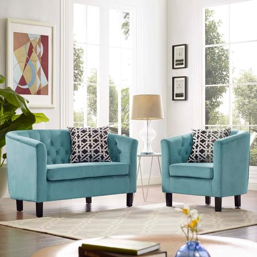 Modway - Prospect 2 Piece Performance Velvet Loveseat and Armchair Set in Sea Blue