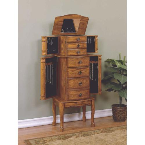 5-drawer and 4 Side Doors Jewelry Armoire, Distressed Oak and Black