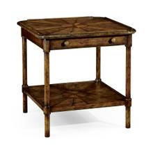 Rustic walnut two-tier table