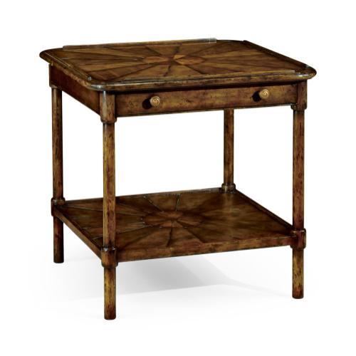 Rustic walnut two-tier table