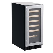 15-In Built-In Single Zone Wine Refrigerator With Wine Cradle with Door Style - Stainless Steel Frame Glass