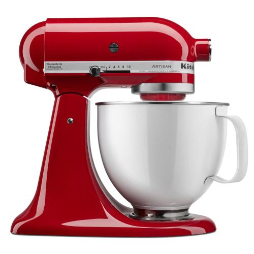 Artisan® Series Tilt-Head Stand Mixer with 5 Quart White Colorfast Finish Stainless Steel Bowl - Empire Red