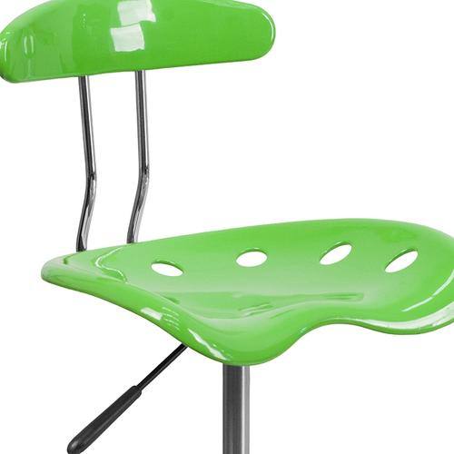 Flash Furniture - Vibrant Apple Green and Chrome Swivel Task Office Chair with Tractor Seat