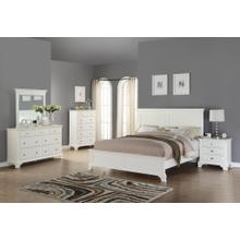 Laveno 012 White Wood Bedroom Furniture Set, Includes QUEEN & KING Bed, Dresser, Mirror, Night Stand and Chest, King