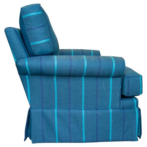 Swivel Glider, Fully Upholstered, Skirted.