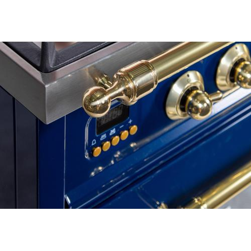 Nostalgie 30 Inch Gas Natural Gas Freestanding Range in Blue with Brass Trim