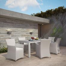 Junction 7 Piece Outdoor Patio Dining Set in Gray White
