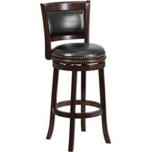 See Details - 29'' High Cappuccino Wood Barstool with Panel Back and Black LeatherSoft Swivel Seat