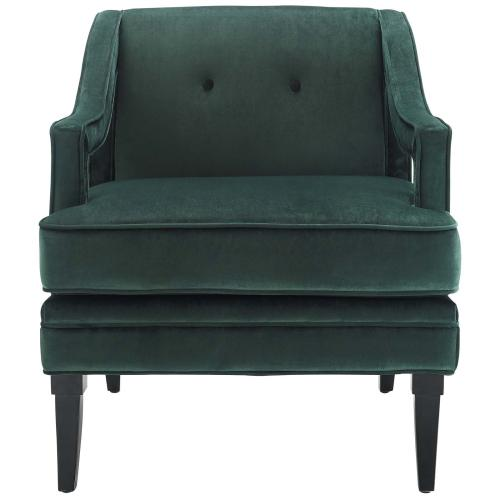 Concur Button Tufted Performance Velvet Armchair in Green