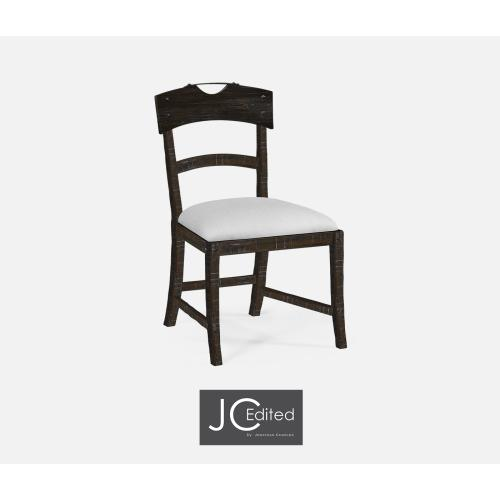 Planked Dark Ale Dining Side Chair, Upholstered in COM