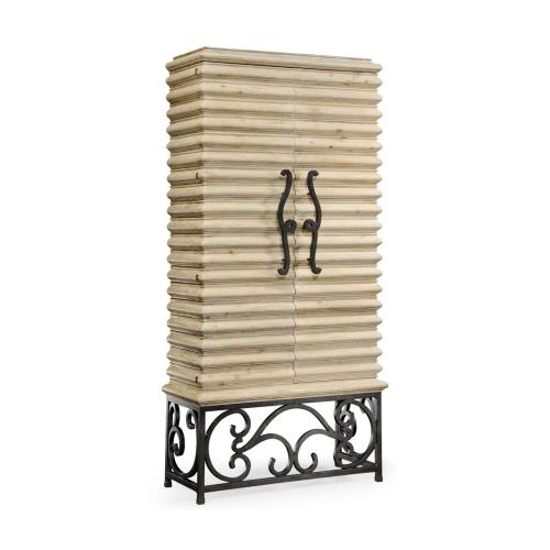 Limed wood wine cabinet with wrought iron base