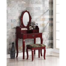 Ribbon Wood Makeup Vanity Table and Stool Set - Cherry