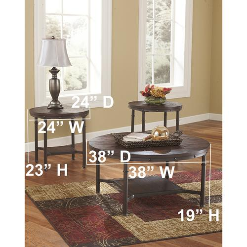Signature Design by Ashley Sandling 3 Piece Occasional Table Set [FSD-TS3-80RB-GG]