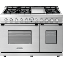 """See Details - Range DECO 48"""" Classic Stainless steel, Chrome 6 gas, griddle and 2 gas ovens"""