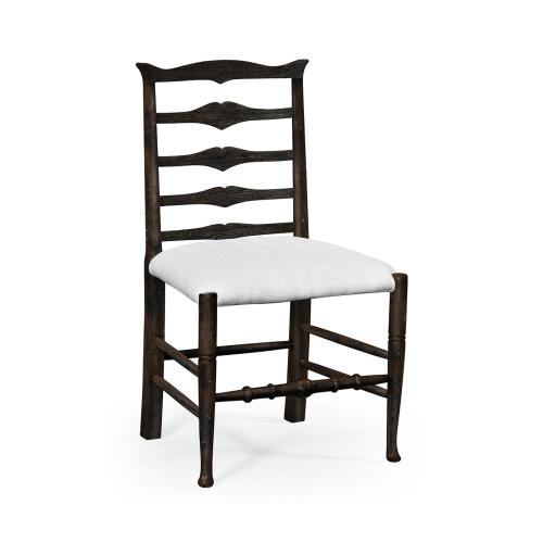 Dark Ale Ladder Back Dining Side Chair, Upholstered in COM
