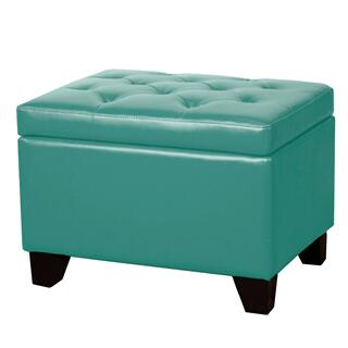 Julian Rectangular Bonded Leather Storage Ottoman, Turquoise